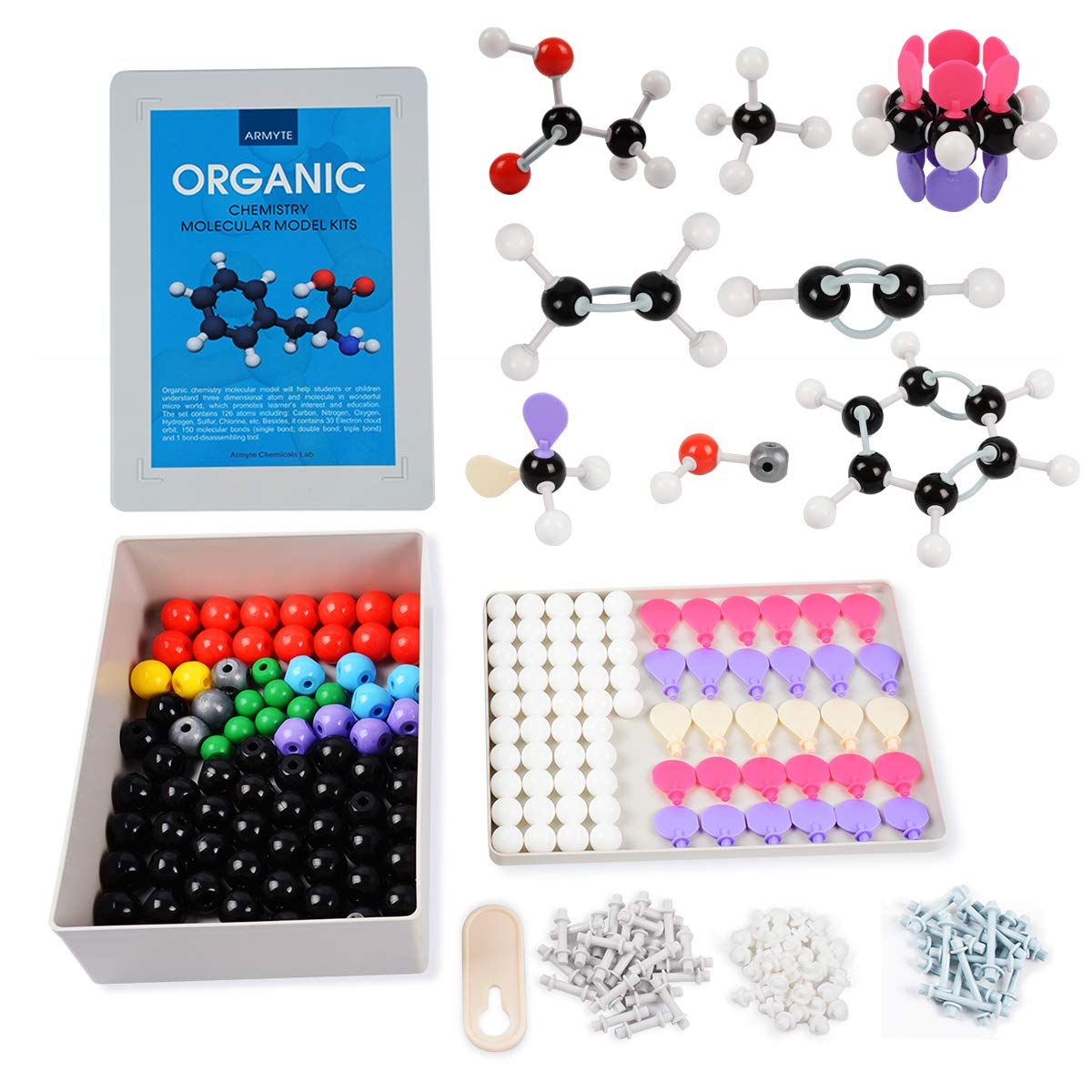 Organic Chemistry Model Kit (307 PCS) – Armyte Chemistry Molecular Model for Teacher Student and Young People Academic Chemistry Education, Pack with Atoms, Bonds, Electron Orbital (Colorful)
