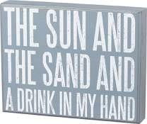 Primitives by Kathy Beach House Décor Box Sign, 9 x 7-Inches, Sun and Sand