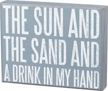 Primitives by Kathy Beach House Décor Box Sign, 9 x 7-Inches, Sun and Sand