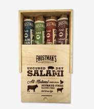 Foustman's Salami Wooden Gift Box, Artisan, Nitrate-Free, Naturally Cured (SF Style Pork, Smoked Pork, 5 Alarm, & Pepperoni)
