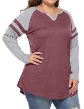 Feager Women's Plus Size Raglan Long Sleeve Shirts Casual Blouse Henley V Neck Baseball Tee Shirts Tops