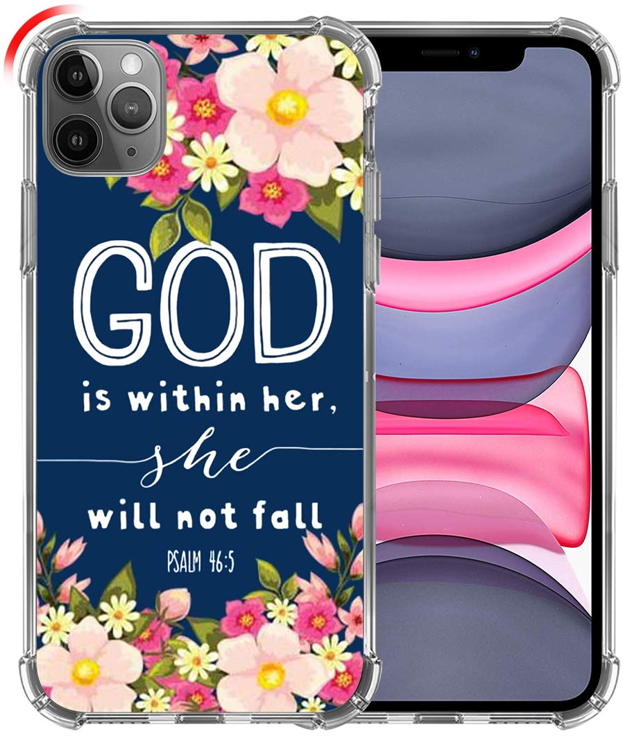 Case for iPhone 11 Pro Max, Hungo Soft TPU Cover Clear Heavy Duty Protection Compatible for iPhone 11 Pro Max Christian Sayings God is Within Her She Will Not Fall Psalm Bible Verse Songs Rubber