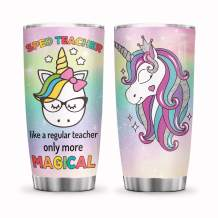 64HYDRO 20oz Inspiration Motivation Sped Teacher More Magical Unicorn Tumbler Cups with Lid, Double Wall Vacuum Sporty Thermos Insulated Travel Coffee Mug - HHF2503003Z
