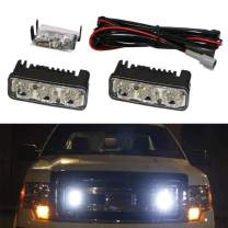 iJDMTOY (2) High Power 3-LED Daytime Running Light Kit Compatible With Truck SUV 4x4 Behind Grille, Cool White Color