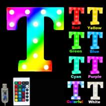 16 Color Changing Marquee Letter Light,Light Up Colorful 26 Alphabet Signs – Home Decor Name Signs – Battery Operated LED Remote Timer – Lighted Vintage Accessories & Decorations-T