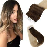 Easyouth 16inch Brazilian Tape Hair Extensions Ombre Color 4 Medium Brown Fading to 27 Honey Blonde Straight Hair 40 Gram per Pack Glue in Hair Extensions Skin Weft Tape Hair Extensions