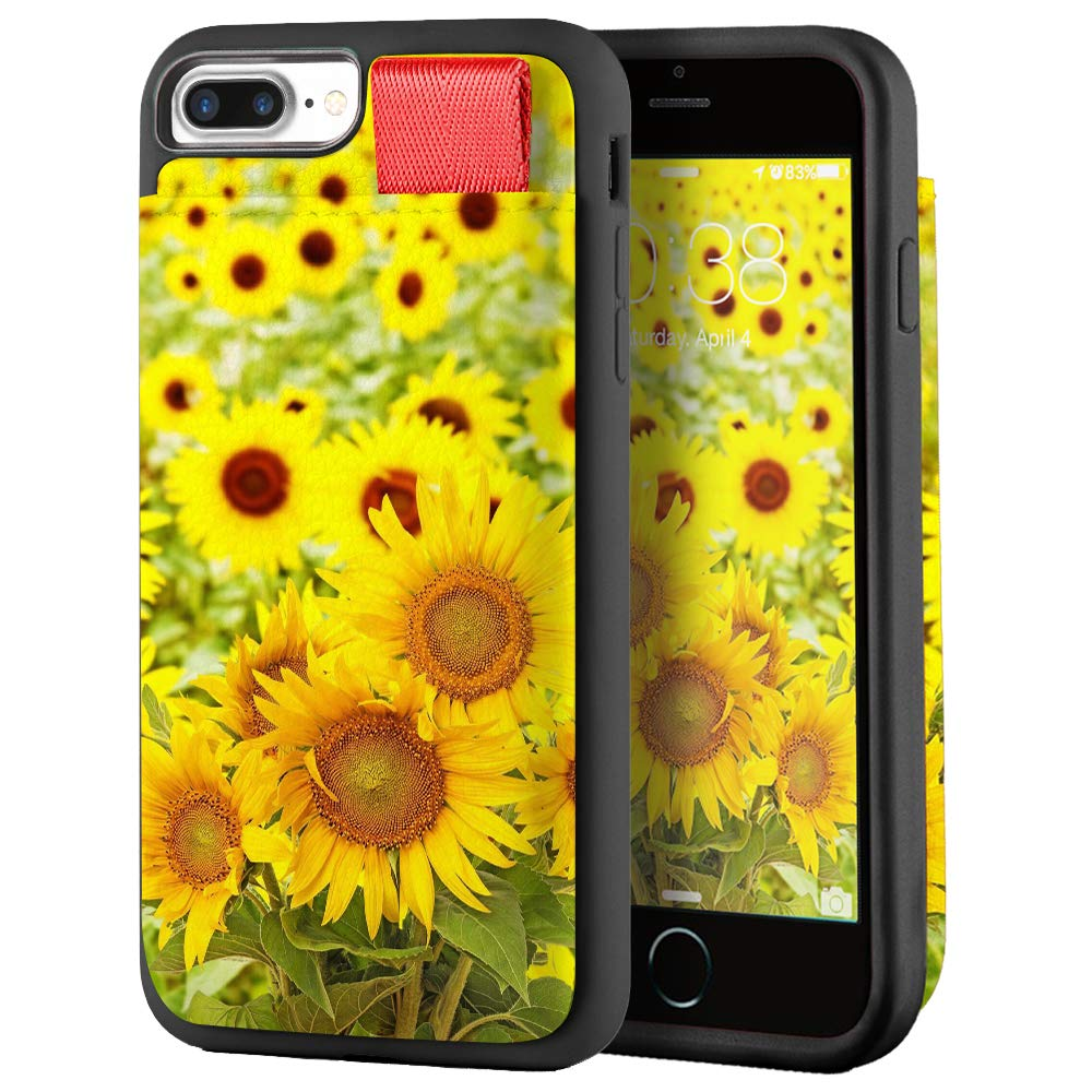 LAMEEKU Wallet Case for iPhone 8 Plus and iPhone 7 Plus, Floral Sunflower Pattern Design Card Holder Case with Credit Card Slot Leather Compatible for iPhone 8 Plus/iPhone 7 Plus
