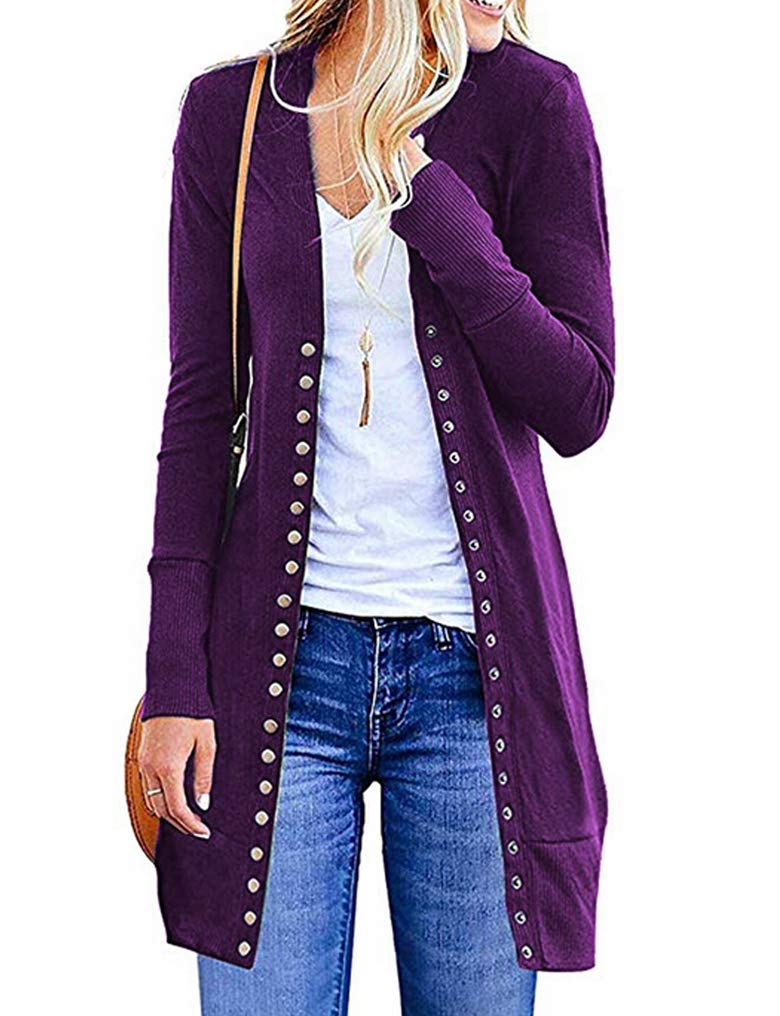 Halife Women's Long Sleeve Snap Button Down Ribbed Neckline Knit Cardigan Sweater Coat