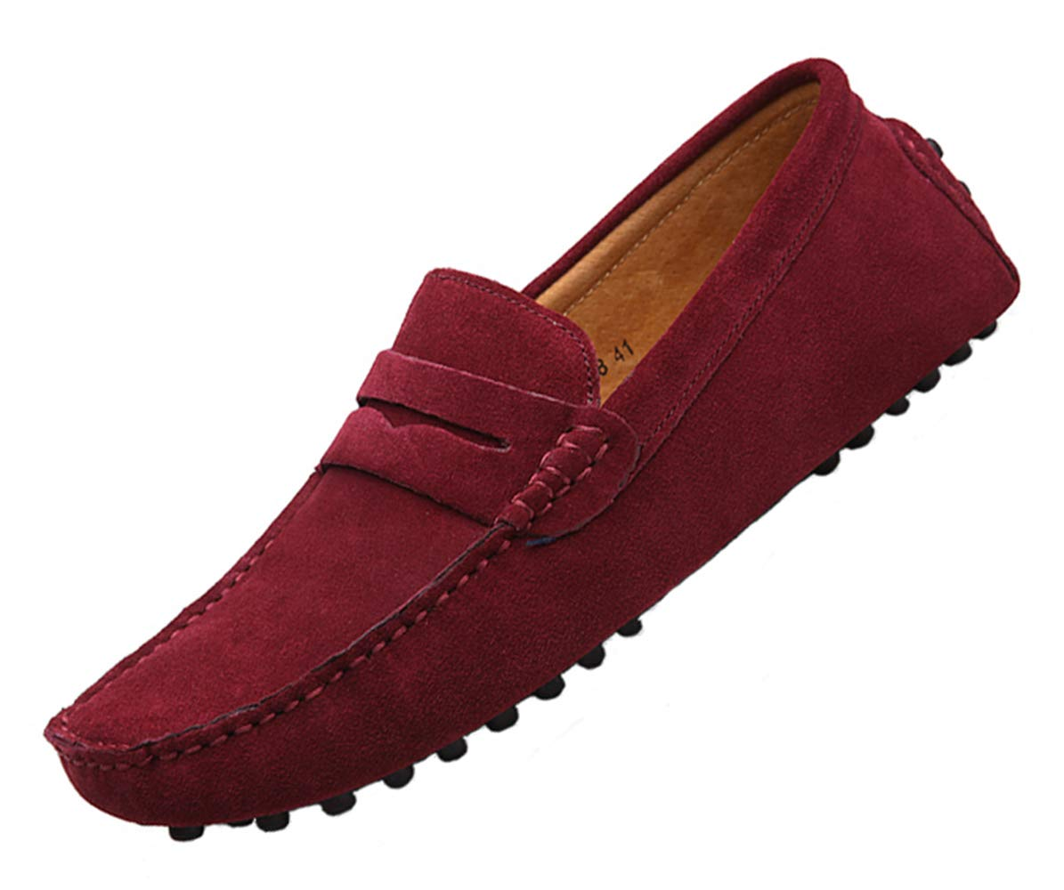 Suede red Loafers for Men Slip on Dress Shoes Breathable Leather Flat Fashion Driving Shoes Penny Driver Walking Sneakers Moccasin Business Casual Shoes Big Plus Size 13 (2088-red-48)