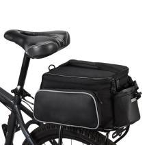 BLUETOP Bicycle Rear Seat Rack Trunk Bag Bike Cargo Bag Cycling Luggage Bag Shoulder Strap Bag Handbag Outdoor Travel Sports Bag | 3 Side Reflective Strip | Bottle Pocket | Strong Velcro Black