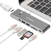 komkaer USB C Hub, USB Type C Hub Adapter with Thunderbolt 100W Power Delivery, USB C 3.0 5Gbps Data, HDMI 4K@30Hz, SD TF Card Reader for MacBook Air 2018 and MacBook Pro 2018/2017/2016