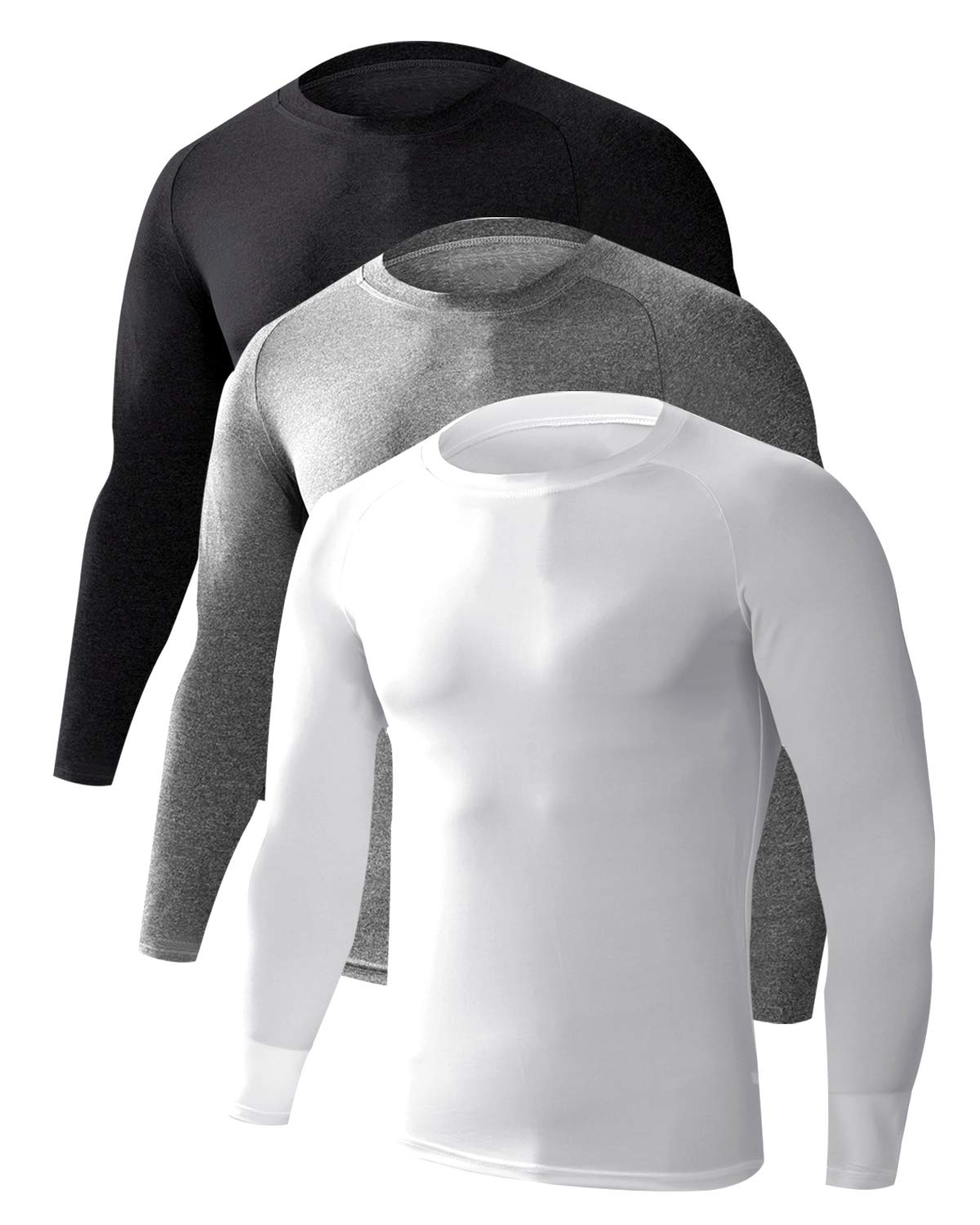LNJLVI Men's 3 Pack Athletic Compression Shirts Base Layer Long Sleeve T-Shirts