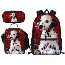 Designer Dog Dalmatian Backpack Bookbags Set for School Cute Lunch Bag, Pencil Case and Big Backpacks