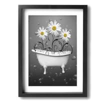 Ale-art Yellow Gray Daisy Flowers Bubbles Frame Bathroom Canvas Prints Artwork for Living Room Bedroom Canvas Wall Art Decor Framed Canvas Artworks Prints Giclee Ready to Hang for Home Decoration
