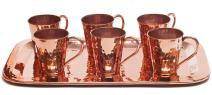 Sertodo Copper, Gunslinger Shot Cup Flight Set, Hand Hammered 100% Pure Copper, 7 Piece Set
