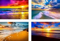 Diamond Painting Kits for Adults Kids,4 Pack 5D DIY Colorful Beach Diamond Art Accessories with Round Full Drill for Home Wall Decor - 15.7×11.8Inches