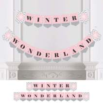 Big Dot of Happiness Pink Winter Wonderland - Holiday Snowflake Party or Baby Shower Bunting Banner - Party Decorations - Winter Wonderland