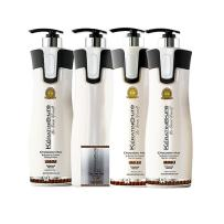 Keratin Cure Best Hair Treatment Chocolate V1 Intensive Collagen Professional Complex with Argan Oil Nourishing Strong Straightening Damaged Dry Frizzy Curly African 4 Piece Kit 960 ML / 32.5 fl oz