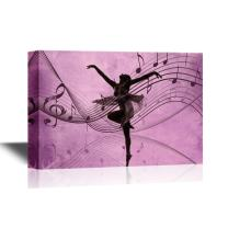 wall26 - Canvas Wall Art - Ballet Dancer on Purple Background with Music Notes - Gallery Wrap Modern Home Decor | Ready to Hang - 32x48 inches