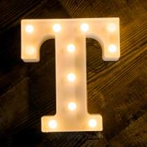 Foaky LED Letter Lights Sign Light Up Letters Sign for Night Light Wedding Birthday Party Battery Powered Christmas Lamp Home Bar Decoration (T)