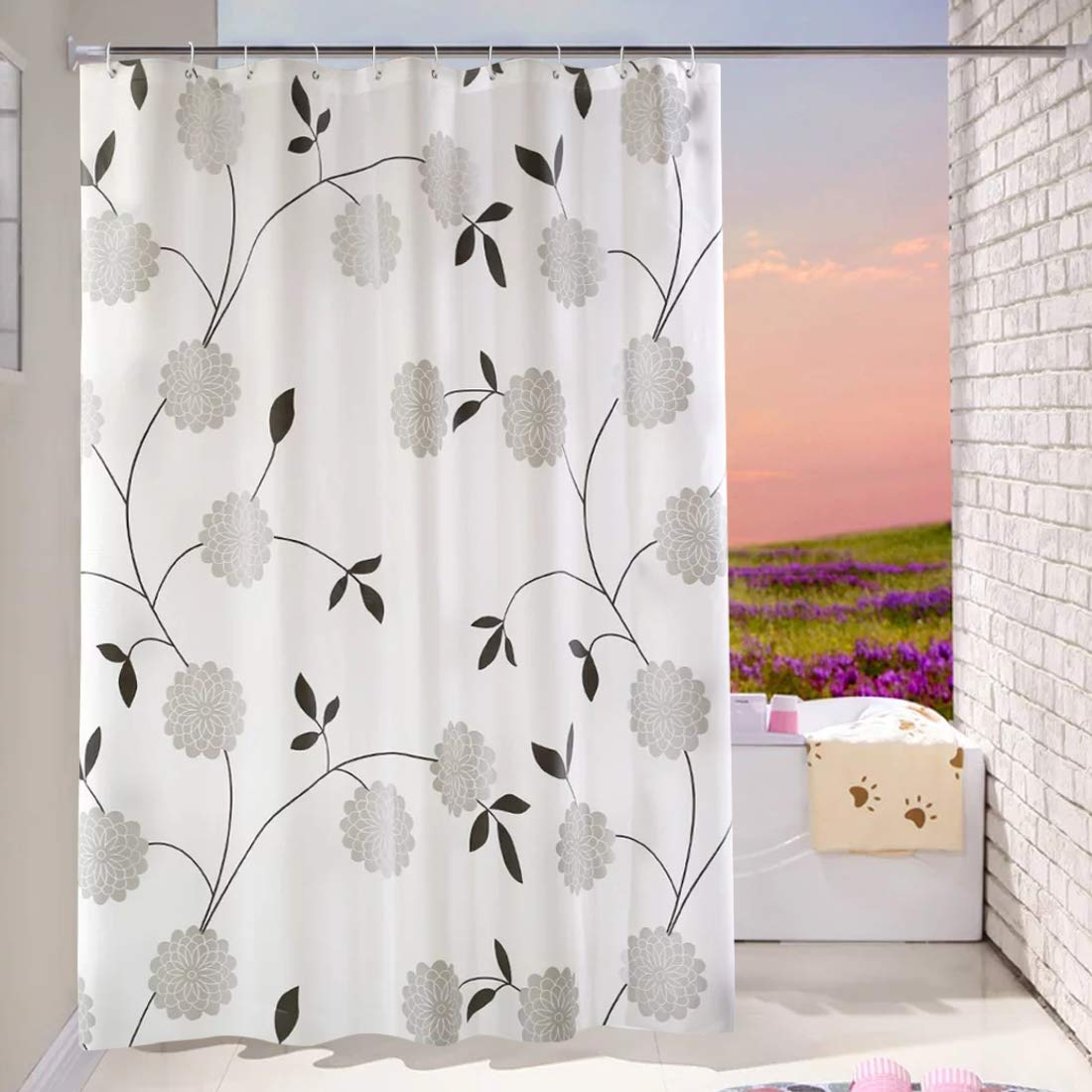 WEIXINHAI Shower Curtain Curtain for Shower Bath Curtains 72 x 72 inch - 100% PEVA 3D Effect Design Waterproof Bath Shower Curtain Liner, Eco-Friendly, Rust Proof Grommets