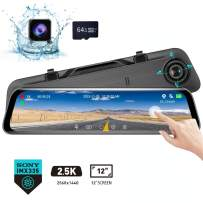 """Karsuite M7 Mirror Dash Cam 2560x1440P Dash Camera for Cars 12"""" Touch Screen Support 170° Wide Angle,WDR Night Vision, G-Sensor,Parking Assistance, with 64GB TF Card"""