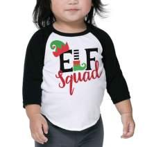 Bump and Beyond Designs Toddler and Kids Elf Squad Christmas Shirt Boy and Girl 3/4 Sleeve Holiday Raglan