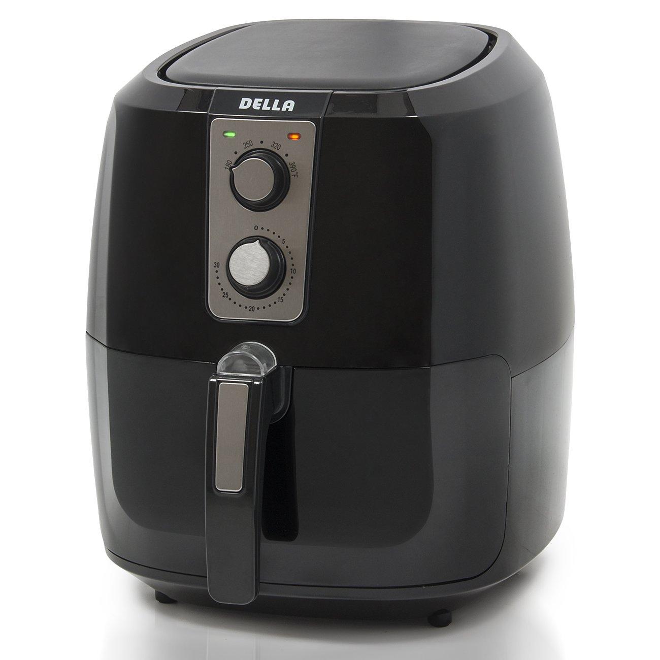 Della XL Electric Air Fryer Button Guard & Detachable Basket Large Portable No-Oil Low Fat- Black 5.8 QT, 1800W