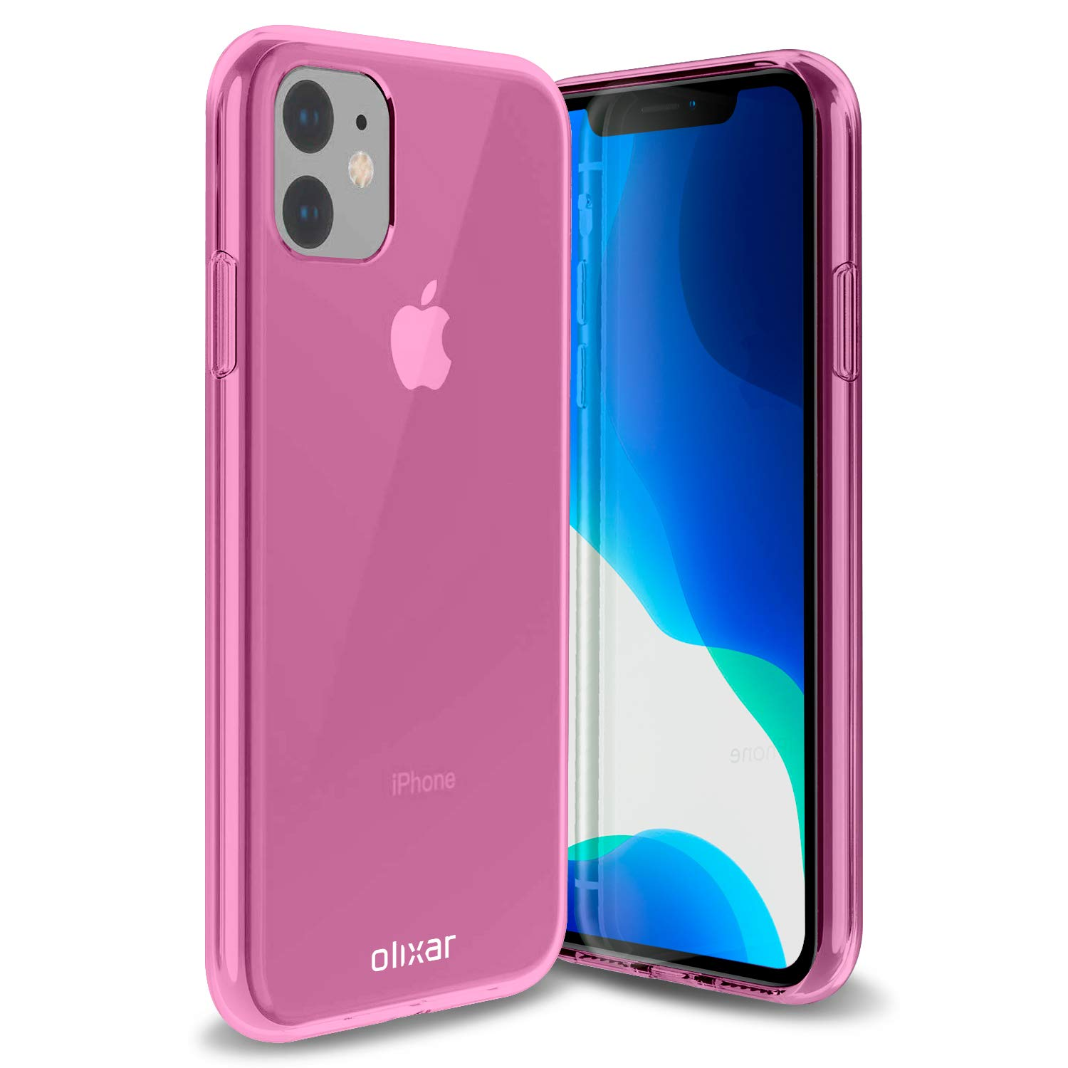 Olixar for iPhone 11 Gel Case Pink - Flexible Slim Silicone TPU - Thin Protective Cover - Wireless Charging Compatible - FlexiShield - Pink