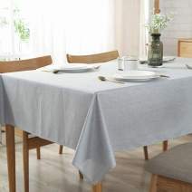 """Bringsine Solid Cotton Linen Tablecloth Stain Resistant/Spill-Proof/Waterproof Lace Table Cloth Cover for Kitchen Dinning Tabletop Decor(Rectangle/Oblong,53"""" x 79"""",Gray)"""