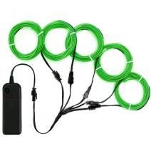 Zitrades EL Wire Green Neon Lights Kit with 4 Modes Portable Battery Operated for DIY Party Decoration, 5 by 1-Meter