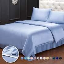LilySilk Real Silk Duvet Cover for Cal.King Bed 19 Momme Silk Seamless Light Blue