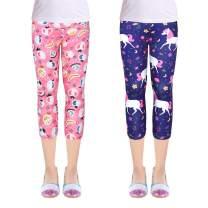 ZukoCert Girls 2-Pack Leggings Tights Kids Stretch Pants Capri Length Leggings for Children 3-10Y