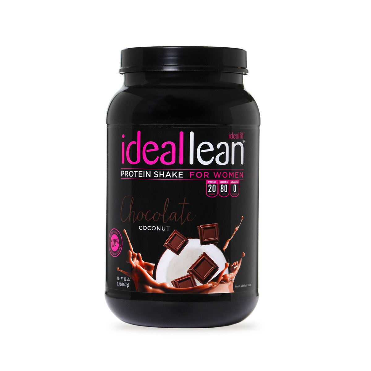 IdealLean - Nutritional Protein Powder for Women | 20g Whey Protein Isolate | Supports Weight Loss | Healthy Low Carb Shakes with Folic Acid & Vitamin D | 30 Servings (Chocolate Coconut)