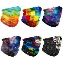 WILNARA 6 Pack Seamless Riding Bandana, Block Dust UV Protection Microfiber Washable Quick Dry Breathable Face Mask Unisex for Outdoors, Motorcycle Riding,Festivals Headwear.