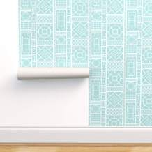 Spoonflower Pre-Pasted Removable Wallpaper, Trellis Turquoise White Chinoiserie Decor Bamboo Fretwork Lattice Palm Beach Hollywood Regency Quadrille Print, Water-Activated Wallpaper, 24in x 144in Roll