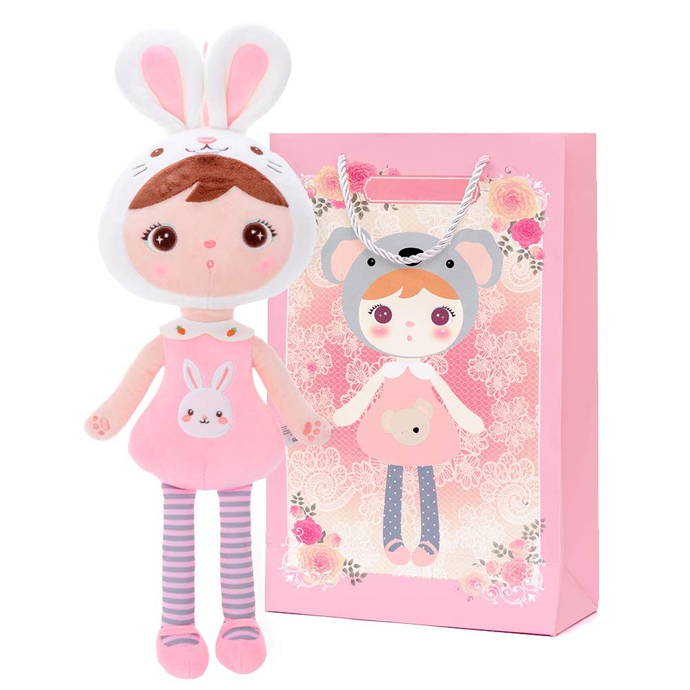 Conzy Stuffed Bunny Rabbit Baby Doll Gifts for Girl Super Soft Buddy Cuddly Baby Girl Toy Gifts Easter Day gifts wtih Gift Bag 16.5 Inches in Standing (Bunny Girl)