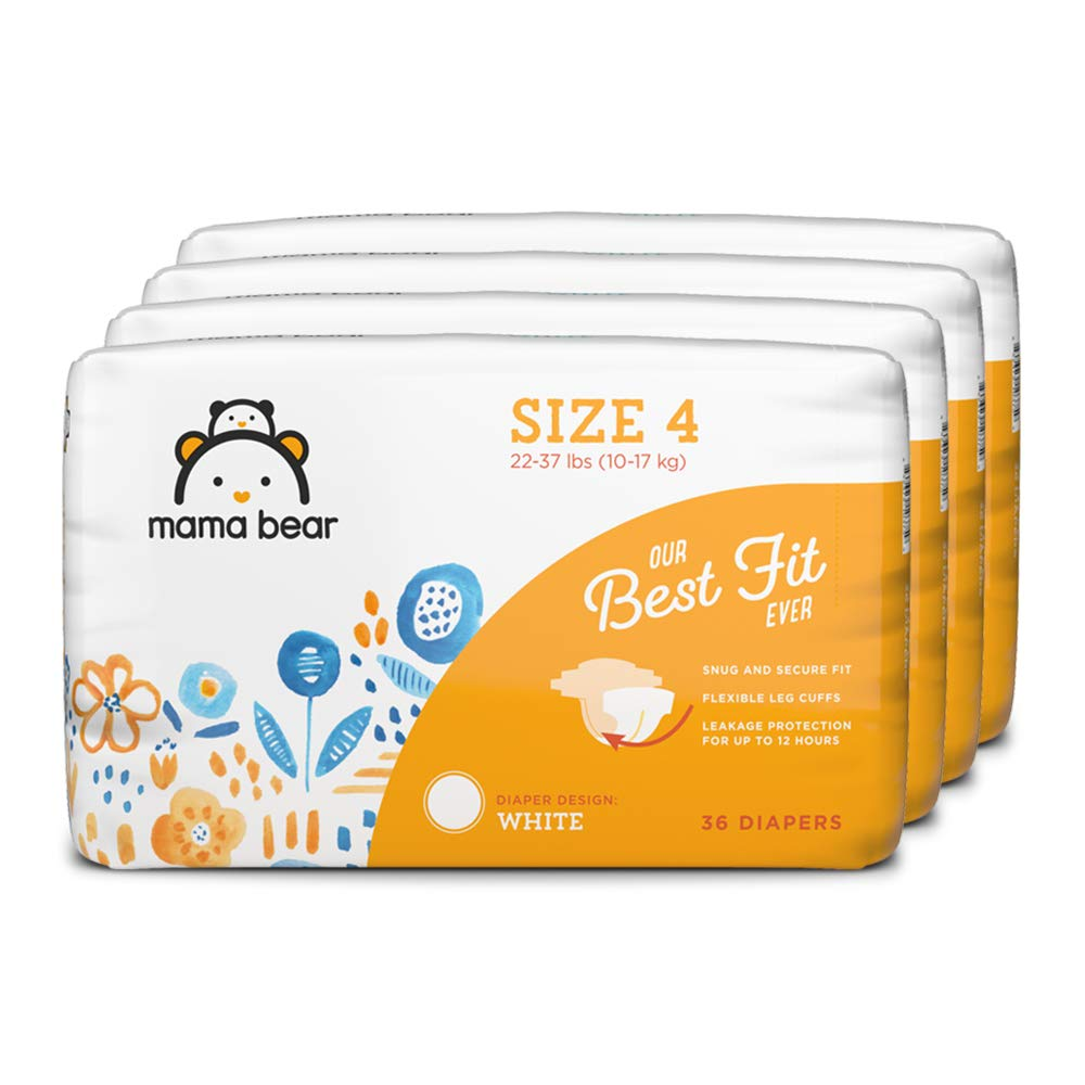 Amazon Brand - Mama Bear Best Fit Diapers Size 4, 144 Count, White Print (4 packs of 36) [Packaging May Vary]