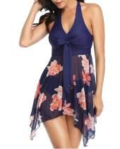Lovelyduo Women Swimwear Dress Halter V Neck Two Piece Tankini Swimdress