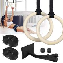 Zacro Wood Gymnastic Rings - with Adjustable Cam Buckle15ft Long Safety Straps + Door Anchor Attachment, Gym Exercise Rings Non-Slip Training Rings 1543lb for Home Gym Full Body Workout