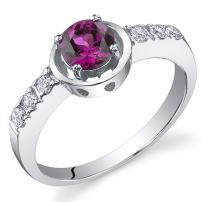Sleek and Classy 0.75 carats Created Ruby Ring in Sterling Silver Rhodium Nickel Finish Sizes 5 to 9