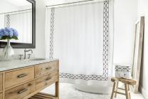 Southampton   Luxury Black & White Shower Curtain   Elegant Jacquard Fabric Shower Curtain   Classic Look   Heavy Weight   Mildew Resistant   72 x 72 Bath Shower Curtain