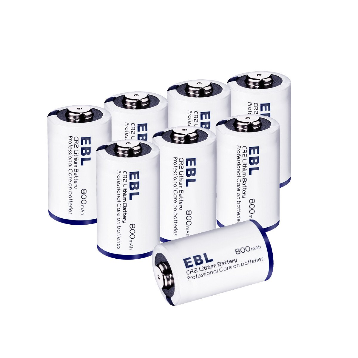 EBL CR2 Lithium Battery, 3 Volt Photo Battery for Mini 25, Mini 50, Golf Rangefinder, Flashlight, Electronic Toys, Alarm Systems - 8 Pack