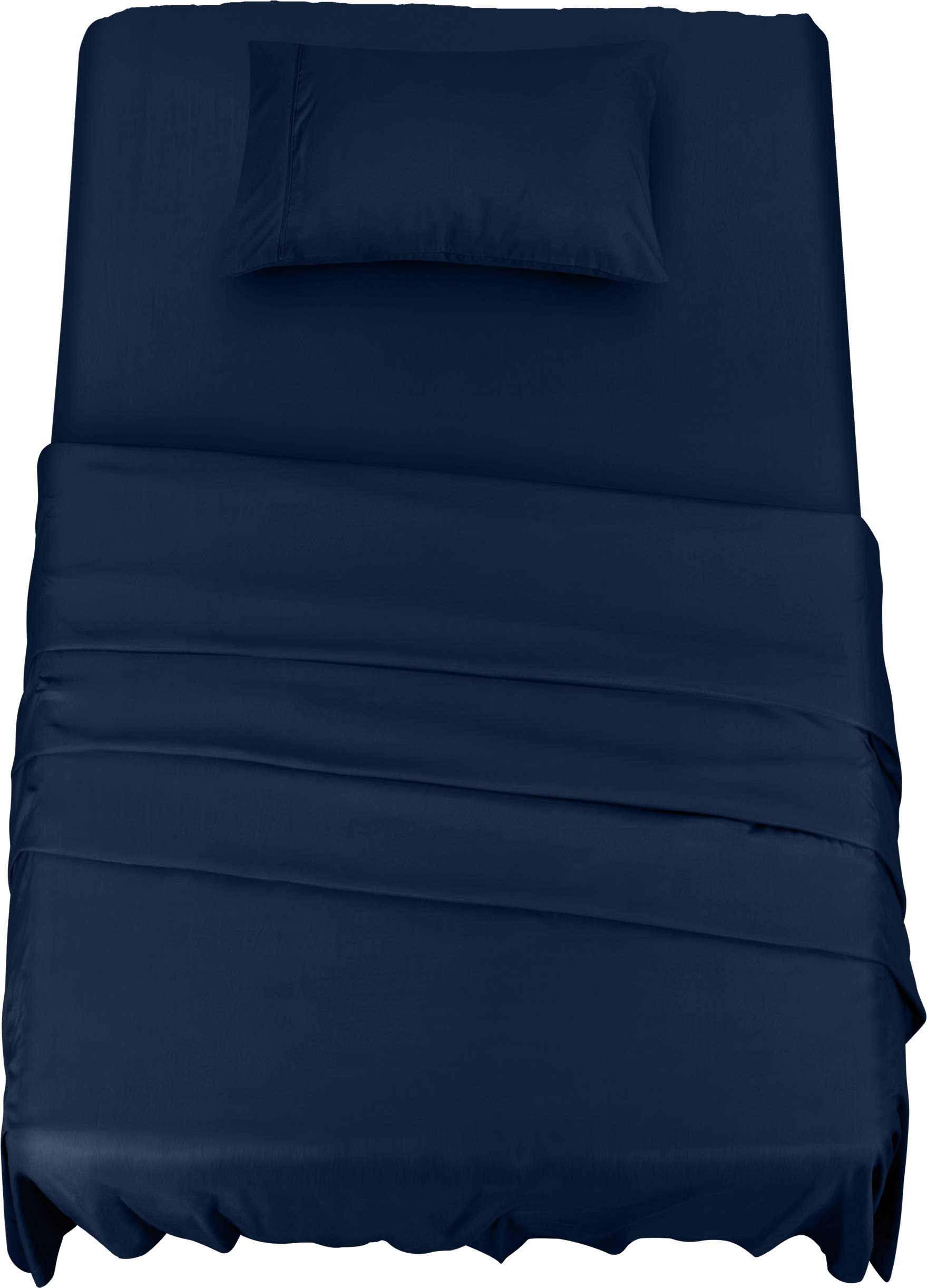 Utopia Bedding Bed Sheet Set - 3 Piece Twin Bedding - Soft Brushed Microfiber Fabric - Shrinkage & Fade Resistant - Easy Care (Twin, Navy)