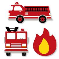 Big Dot of Happiness Fired Up Fire Truck - DIY Shaped Firefighter Firetruck Baby Shower or Birthday Party Cut-Outs - 24 Count