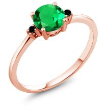 Gem Stone King 10K Rose Gold Engagement Solitaire Ring set with 0.80 Ct Round Green Simulated Emerald and Black Diamonds