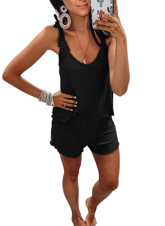 Chase Secret Womens Lace Trim V Neck Sleeveless Satin Sleepwear Solid Pajama Set Loungewear Cami Top and Shorts