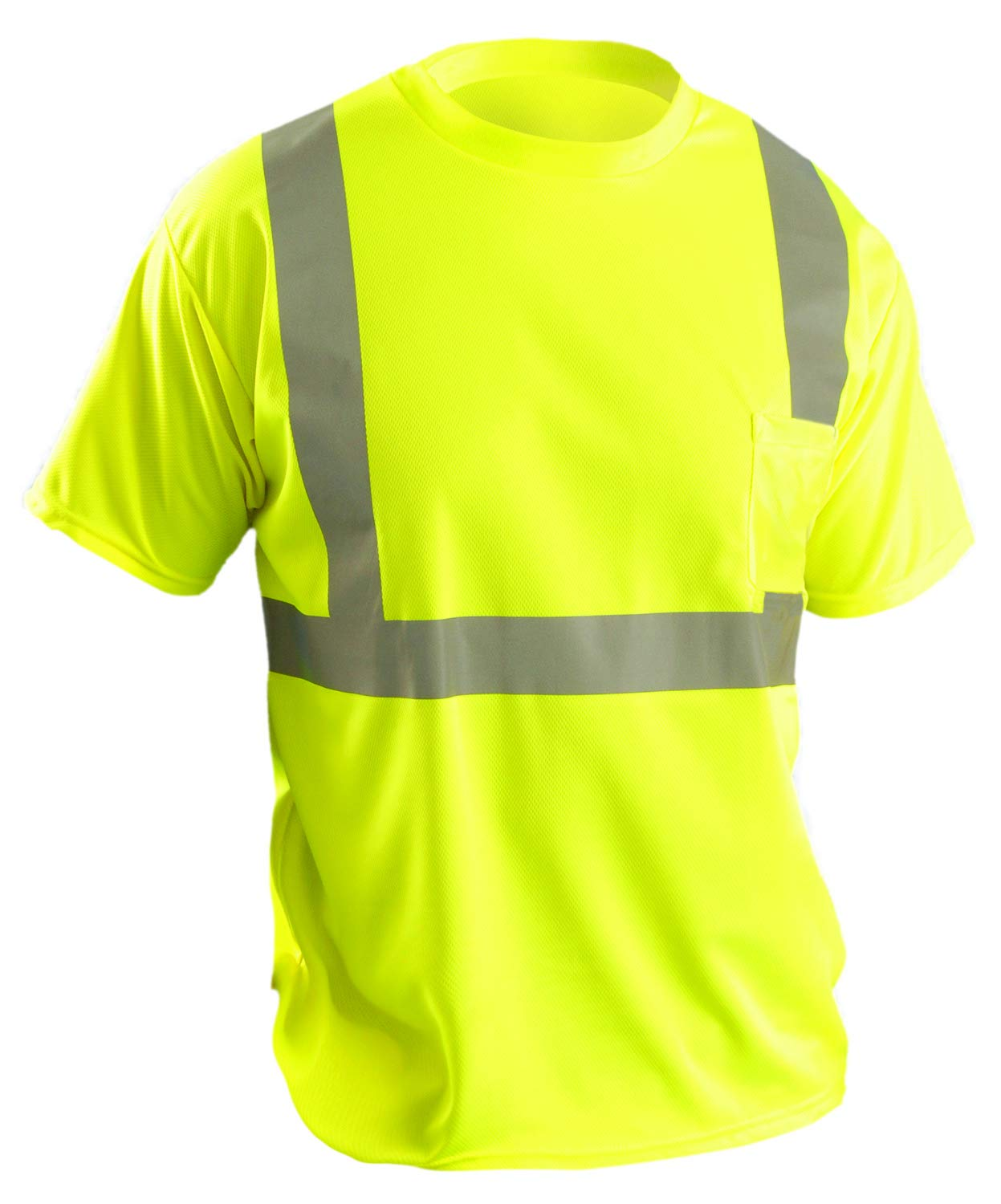 OccuNomix LUX-SSETP2B-Y5X Classic Standard Short Sleeve Wicking Birdseye T-Shirt, Class 2, 100% ANSI Wicking Polyester Birdseye, 5X-Large, Yellow (High Visibility)