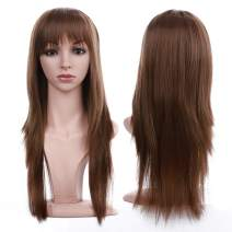 S-noilite 23inch Long Straight Light Brown Natural Daily Full Wig Cosplay Party Costume Synthetic Hair Wigs With Bangs For Women Ladies