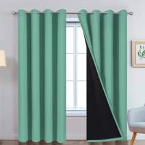 Yakamok 100% Blackout Curtains for Bedroom with Black Liner, Thermal Insulated 2 Layer Full Room Darkening Noise Reducing Grommet Blackout Drapes (52Wx84L, Turquoise,One Pair)